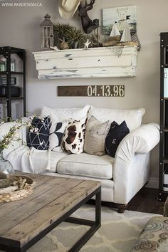 Gray White and Yellow Living Room