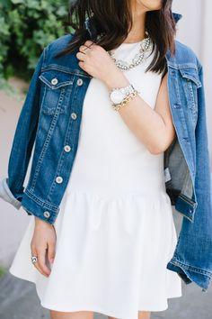 white dress and denim