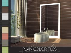 Created By Rirann Plain Color Tiles Set Created for: The Sims 4 Plain Color Tiles Set in 8 color variations. 8 floors in one. Tiles, Color Tile, Color, Wall Colors, Sims, Tile Wallpaper, Wall Tiles, Modern Tiles, Sims House