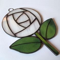 White Stained Glass Rose Suncatcher, Rennie Mackintosh Style Stained Glass Rose
