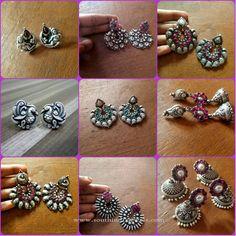 Indian Silver Ear Studs, Indian Silver Jhumkas, Indian Silver Chandbali Designs.