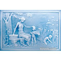 American Encaustic Tiling Company Plaque, Pattern: Autumn, 4 Seasons Series, Blue Glaze, Description: 12 x 18 In.