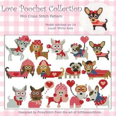 Fall in love with these collection of 14 dogs mini cross stitch pattern. Themed for dog lovers! Stitch them as a sampler or individually as mini