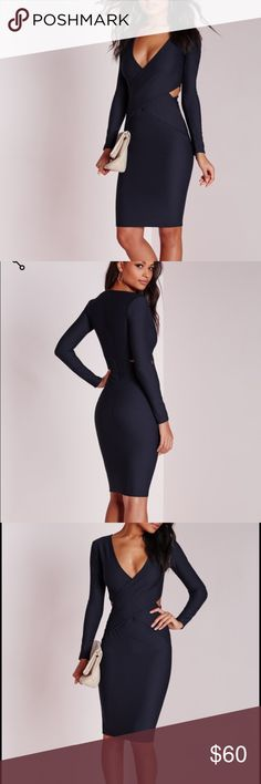 MISSGUIDEDCUTOUT DRESS Bodycon dress in navy with cut out sides. NWOT. Never worn. Missguided Dresses Midi
