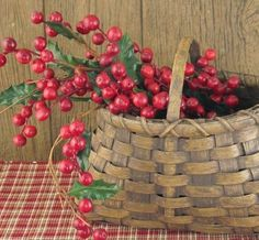 basket, red, holly berries ~ works for me! Holly Berries, Red Berries, Country Christmas, Christmas Home, Christmas Projects, Basket Tray, Red Basket, Basket Ideas, Vintage Baskets