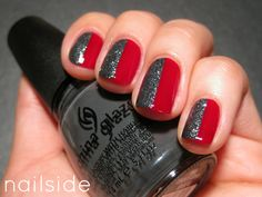 Simple and elegant: red and pewter nails. #manicure #mani #nailpolish #polish