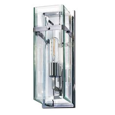 Our Price $270.00 - Sonneman Lighting 1-light contemporary wall sconce in polished chrome finish with clear glass panels. Reg. Price 402.50.
