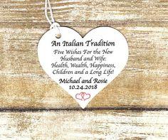 Jordan Almond Wedding favor Tags - 5 Almond Wishes , Five Wishes Poem, Italian Custom, 2 inch heart shape -Italian Tradition 5 Almond poem