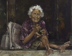 Leslie Goh, The Matriarch of the Putra Family, Jimbaran village, Bali Indonesia, 2008 Oil on canvas