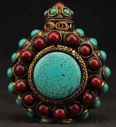 EXQUISITE HANDWORK COPPER INLAY OLD TURQUOISE CORAL SUPERB SNUFF BOTTLE MARKED