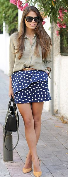 Clp Shop Navy And White Polka Dot Asymmetrical Ruffle Mini Skirt by Seams For a Desire
