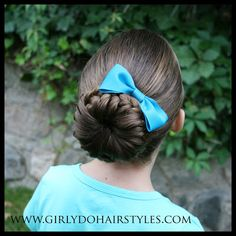 Girly Do Hairstyles: By Jenn: The Big Beautiful Bun Braid Girly Hairstyles, Pretty Hairstyles, Braided Hairstyles, Hairstyles Videos, Hair Again, One Hair, Toddler Hair Dos, Dance Competition Hair, Little Girl Hairdos