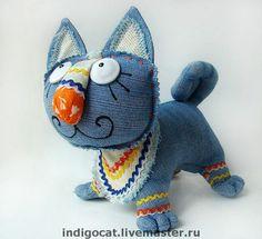 Синий кот Нарядный II - кот,авторская игрушка,оригинальный подарок,текстильная игрушка