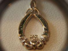 Failte Solvar Irish Jewelry Sterling Connemara Marble Claddagh Necklace Pendant