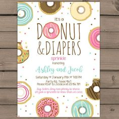 Donuts and Diapers Sprinkle Baby Shower Invite Donuts baby