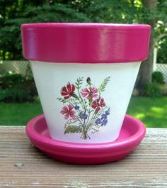RESERVED FOR KATHLEEN: 5 inch flower pot Wildflowers Design flowers pot Your place to buy and sell all things handmade Flower Pot Art, Flower Pot Design, Clay Flower Pots, Terracotta Flower Pots, Flower Pot Crafts, Clay Pots, Cactus Flower, Clay Pot Projects, Clay Pot Crafts