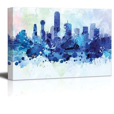 Vibrant Blue Splattered Paint on the City of Dallas by Wall26Store