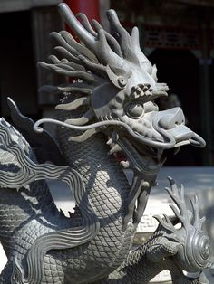 Dragon head by arnaud.  Dragon sculpture in Imperial Palace