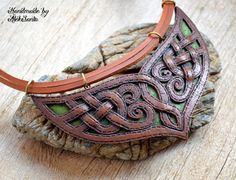Celtic elven necklace Unique unusual jewelry Statement polymer clay jewelry for women Fantasy brown green bib necklace Mother gift .hba by HandmadeByAleksanta on Etsy