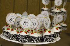 80th Birthday cupcakes and cupcake picks