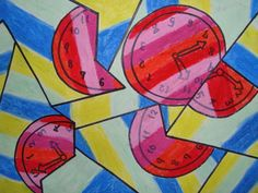 a faithful attempt: Fractured Cubist Oil Pastel Drawings