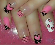 Love Nails, Fun Nails, Pretty Nails, Valentine Nail Art, Holiday Nail Art, Short Nail Designs, Cute Nail Designs, Nail Jewelry, Nail Art Videos