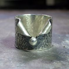 Hammered Sterling Silver Wide Band Ring Pebble by LavenderCottage