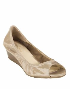 Zappos.com is proud to offer the Cole Haan - Air Tali OT Wedge 40 (Sandstone Patent) - Footwear: Open your mind and your style to new possibilities with the Air Tali Open Toe Wedge from Cole Haan.