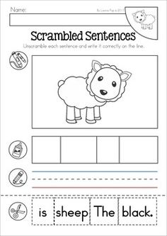 Baa, Baa, Black Sheep Nursery Rhyme Worksheets and Activities. Unscramble the sentence cut and paste activity.