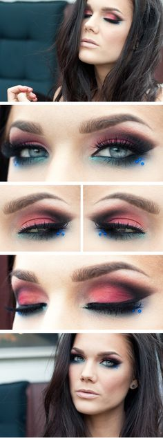 Mango Tango pink and teal bright eye makeup look, great for summer or ever spring, colorful and happy, great pop of color.