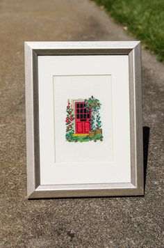 A Tiny Door Framed CrossStitch by LuckyAccidents on Etsy, $30.00