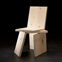 3 Equal Parts Chair, revised (three L-shaped pieces made from Swiss stone pine, edition of 27) by Rolf Sachs, 2008
