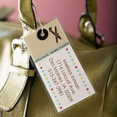 You won't lose your luggage on your next trip with this custom-made tag. Simply mix and match your favorite papers, print off your address, and laminate. To create the hole, use a small punch and finish it off with a creative eyelet. Then thread a small chain through and attach it to your bag.