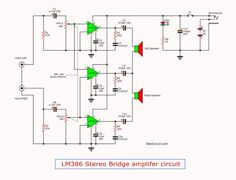 See stereo audio amplifier circuit, 2 watts. Hobby Electronics, Electronics Basics, Electronics Projects, Electronic Circuit Projects, Stereo Amplifier, Bridge, Channel, Technology, Amazing