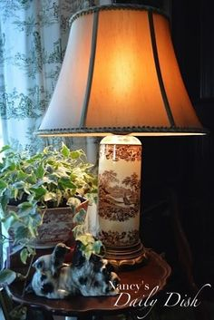 Antique Chocolate Brown English Transferware Lamp w/ Leather Shade Ton