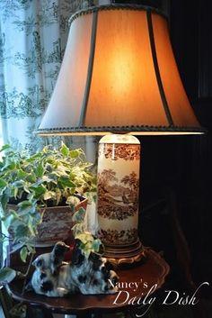 Antique Chocolate Brown English Transferware Lamp w/ Leather Shade Ton