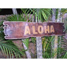 """Aloha"" Sign Drift Wood w/ Rope - Tropical Decor"