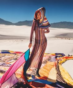 Underneath the New Mexico sun, Kendall Jenner stars as the face of Missoni's spring-summer 2018 campaign. The brunette poses on location at the White Sands