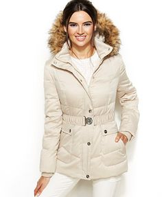 DKNY Hooded Faux-Fur-Trim Belted Down Puffer Coat