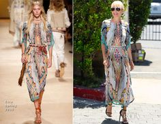 ✶Nicole Richie visited 'Extra' at Universal Studios 17 July 2015 in Universal City, CALIFORNIA, to promote her 'Candidly Nicole' web series. She may have turned a corner style wise in recent years, but she'll occasionally steer back to her first love: boho. We love her Etro Spring 2015 billowing folksy print dress conjures up a luxe-hippie vibe with her Saint Laurent 'Paris' sandals and aviator shades. THey not only kept the look modern, but also added to the overall charm.✶