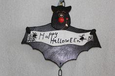 Deko Halloween - Happy Halloween Fledermaus mit Laterne ( Schwarz ) - ein Designerstück von bastelmaus19 bei DaWanda