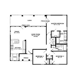 Floor Plans AFLFPW18828 - 1 Story Cottage Home with 3 Bedrooms, 2 Bathrooms and 1,334 total Square Feet