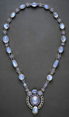 Louis Comfort Tiffany, Moonstone and sapphire necklace with pendant, c.1910