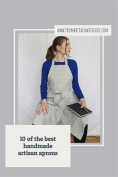 love an artisan linen, denim or ticking apron - especial japanese style with cross back. This beauty is made in the UK and is made to last and designed for use by potters, artists, gardeners, artisans and anyone who loves a beautiful apron #apron #ticking #handmade #potter Japanese Apron, Japanese Style, Pinafore Apron, Gardening Apron, Natural Candles, Apron Dress, Etsy Uk, Ethical Fashion, Handmade Bags