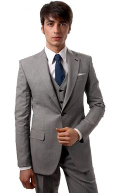Light Gray Three Piece Men's Suit | Indochino
