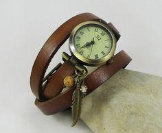 Montre femme Cuir breloques à personnaliser - leather bracelet watch