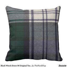 Black Watch Dress-M Original Tartan Square Throw Pillow  Smart looking pillow nice for a gent's den, man cave, or cabin.