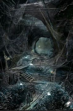 Shadow world artwork #FantasyLandscape could be underdark, shadow plane horror setting, caves and darkness