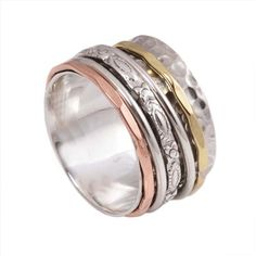R032 Mixed metal spinner ring, spinner ring, sterling silver, silver ring, worry ring, fidget ring,meditation ring,92.5 sterling silver ring,silver ring
