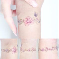 Best Tattoos Ideas : Flower & Butterfly Arm Band Tattoo Artist: hktattoo_mini - Blumen - Tattoo Designs for Women Diy Tattoo, Tattoo Band, Tattoo Ideas, Bracelet Tattoos, Mini Tattoos, Trendy Tattoos, Small Tattoos, Flower Wrist Tattoos, Flower Tattoo Designs